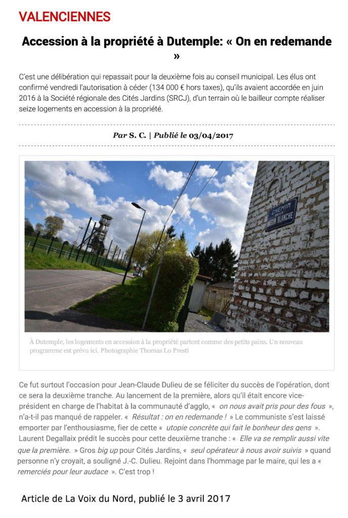 Article LaVoixduNord Valenciennes Dutemple